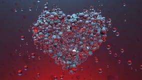 röda hjärtor Glänsande Glass bollar skapar valentinhjärta och exploderande hjärtapartiklar lager videofilmer