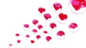 Röda hjärtor i bubblorna, fluga upp, på en vit bakgrund