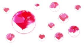 Röda hjärtor i bubblorna som hänger i luften på en vit bakgrund