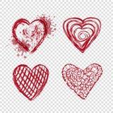 Röda hjärtor med fläckar och linjer, valentindag Arkivfoto