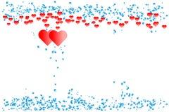 Röda hjärtor med gränsen av blåa lutningprickar som är liknande till vattendroppar - centrera kopia-utrymme Plan vektorillustrati Royaltyfria Foton