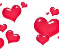 Röda hjärtor på dag för valentin` s Töm utrymme för din text Vit bakgrund elegant illustrationvektor Fotografering för Bildbyråer