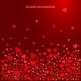 Röda hjärtor på mörk vinbakgrund vektor Royaltyfri Illustrationer