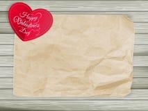 Röda hjärtor på tappningpappersbakgrund 10 eps Arkivbild