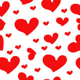 Röda hjärtor - sömlös vektormodell Royaltyfria Bilder