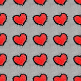 Röda hjärtor som dras på sömlös modell för snö royaltyfria foton