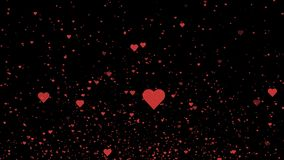Röda hjärtor som flyger på den svarta bakgrunden Valentin bakgrund för dagrörelse 4K arkivfilmer