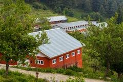 Röda hus med att slutta taket Arkivfoto