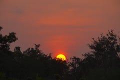 Röda illavarslande moln för solnedgång och för mörker arkivbild