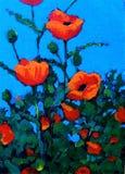 röda impressionismmålningsvallmor Arkivbilder