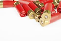 12 röda jaktkassetter för mått för hagelgevär Royaltyfri Fotografi