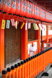 röda japanska lyktor Royaltyfri Foto