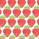 Röda jordgubbar för sömlös vektormodell på vit bakgrund Tappning inspirerade jordgubbefruktdesignen för tyg, papper, royaltyfri illustrationer