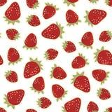 Röda jordgubbar på den vita sömlösa modellen Royaltyfri Foto