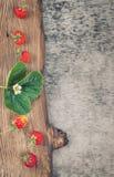 Röda jordgubbar på lantligt trä Royaltyfri Foto