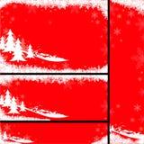 Röda julbaner vektor illustrationer