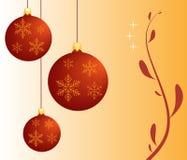 Röda julbollar. Arkivbilder