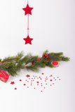 Röda julstjärnor med granfilialen och hjärta Arkivbild