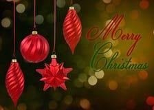Röda julstruntsaker Arkivfoton