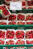Röda körsbär i en marknad i Tyskland Arkivfoton