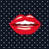 Röda kanter på popkonst på svart bakgrund med vita prickar royaltyfri illustrationer