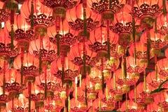 röda kinesiska lyktor Royaltyfri Bild