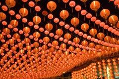 röda kinesiska lyktor Arkivbilder