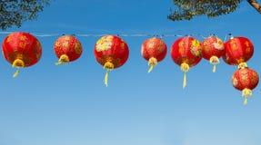 Röda kinesiska Paper lyktor Arkivbild