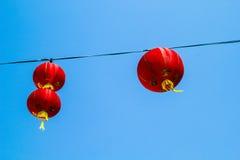 Röda kinesiska Paper lyktor Fotografering för Bildbyråer