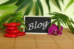 Röda kiselstenar som är ordnade i Zenlivsstil med en orkidé, en tänd stearinljus, en bambufilial och lövverk med meddelandeblogge fotografering för bildbyråer
