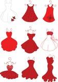 Röda klänningar Arkivbild