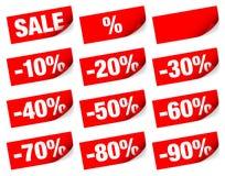 Röda klibbiga anmärkningar Sale negativ stock illustrationer