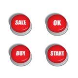 Röda knappar med olika kommandon liksom försäljning, köp eller start Fotografering för Bildbyråer