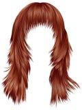 Röda kopparfärger för moderiktiga hår för kvinna långa Skönhetmode Arkivbilder