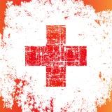Röda korset i grungestil, medicinskt tecken, rengöringsduksymbol vektor illustrationer