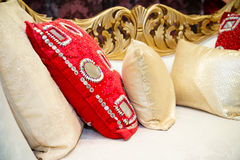 Röda krämkuddar Royaltyfri Fotografi