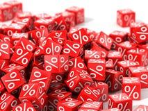 Röda kuber med procent i fokus Fotografering för Bildbyråer