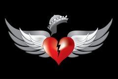 röda kungliga vingar för 1 broken kronahjärta royaltyfri illustrationer