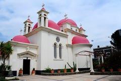 röda kyrkliga kupoler Royaltyfri Fotografi