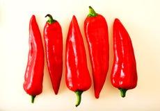 Röda långa peppar Arkivbilder