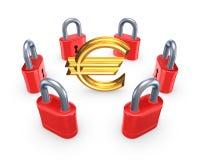 Röda lås runt om symbol av euroet. Royaltyfri Fotografi