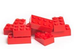 Röda Lego block Fotografering för Bildbyråer
