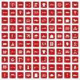 100 röda logistiska och för leveranssymboler fastställda grunge Royaltyfri Bild