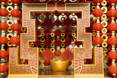Röda lyktor som dekorerar det kinesiska nya året Fotografering för Bildbyråer