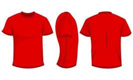 Röda mäns t-skjorta med korta muffar framdel baksida, sidosikt bakgrund isolerad white royaltyfri illustrationer