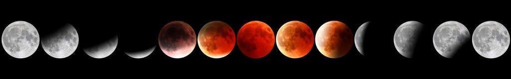 Röda månefaser royaltyfria bilder