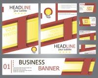 Röda mallar, gul broschyrdesign, baner, gåvakort Royaltyfri Bild