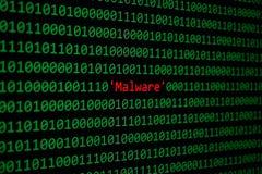 Röda Malware och för den binära koden begreppssäkerhet och Malware anfaller royaltyfria bilder