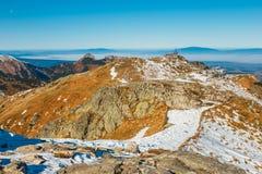 Röda maxima i Tatra berg arkivfoton