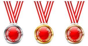 röda medaljer vektor illustrationer